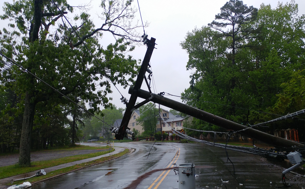 Storm damaged electric lines